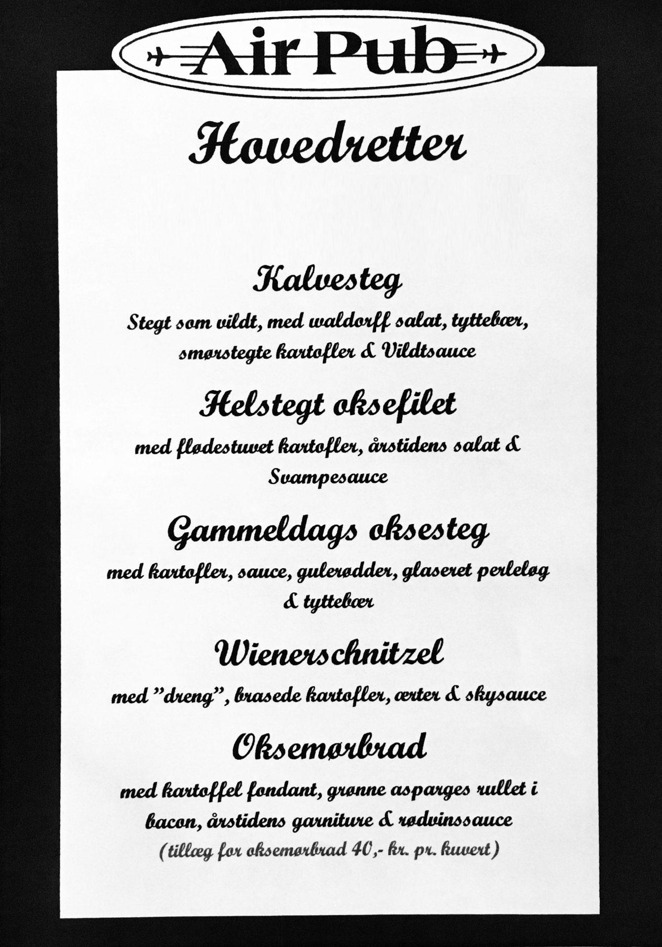Hovedretter - Air Pub Restaurant og Konferencecenter i Kastrup